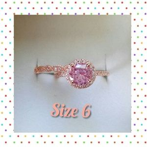 2 CT 14K Rose Gold Morganite Bridal Set